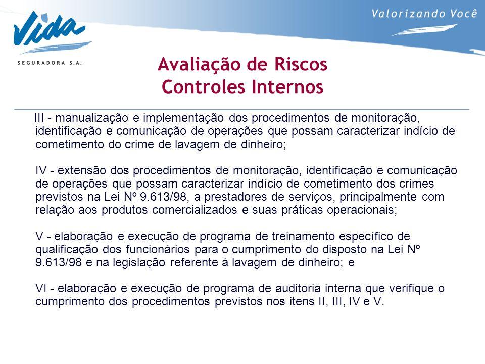 Avaliação de Riscos Controles Internos III - manualização e implementação dos procedimentos de monitoração, identificação e comunicação de operações q