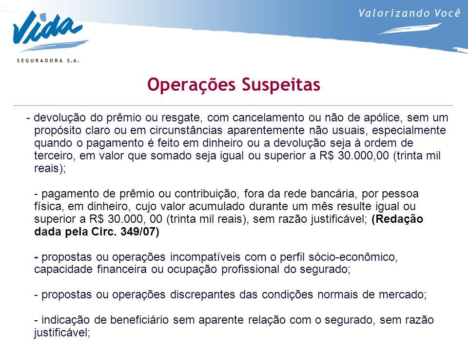Operações Suspeitas - devolução do prêmio ou resgate, com cancelamento ou não de apólice, sem um propósito claro ou em circunstâncias aparentemente nã