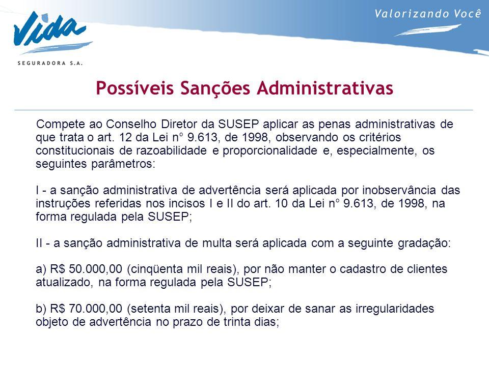 Possíveis Sanções Administrativas Compete ao Conselho Diretor da SUSEP aplicar as penas administrativas de que trata o art. 12 da Lei n° 9.613, de 199