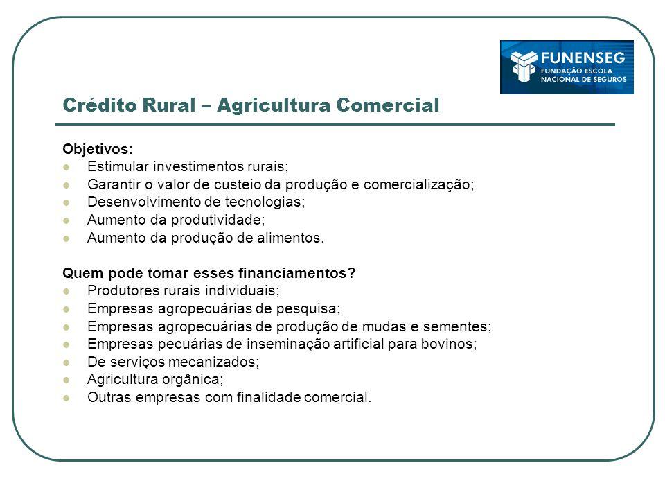 Crédito Rural – Agricultura Comercial Objetivos: Estimular investimentos rurais; Garantir o valor de custeio da produção e comercialização; Desenvolvi