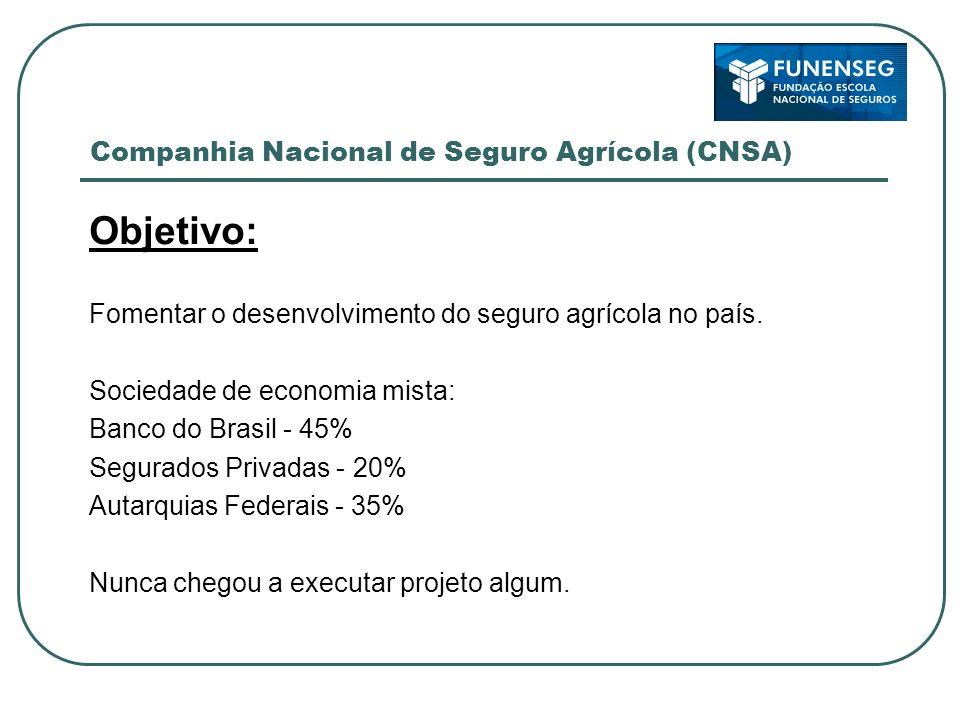 Companhia Nacional de Seguro Agrícola (CNSA) Objetivo: Fomentar o desenvolvimento do seguro agrícola no país. Sociedade de economia mista: Banco do Br