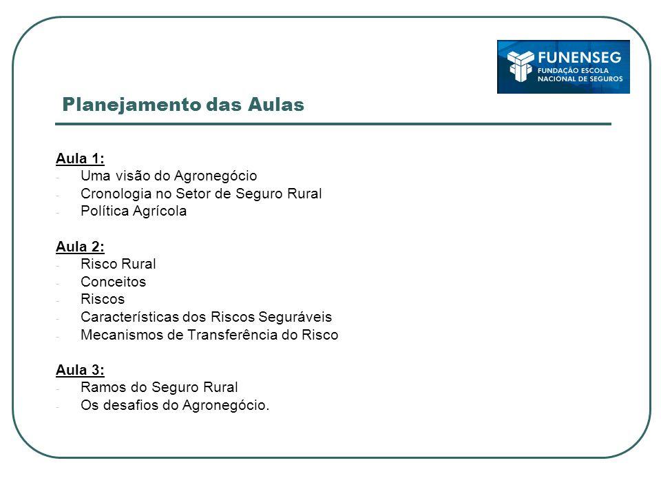 Planejamento das Aulas Aula 1: - Uma visão do Agronegócio - Cronologia no Setor de Seguro Rural - Política Agrícola Aula 2: - Risco Rural - Conceitos