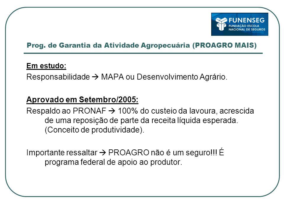 Prog. de Garantia da Atividade Agropecuária (PROAGRO MAIS) Em estudo: Responsabilidade MAPA ou Desenvolvimento Agrário. Aprovado em Setembro/2005: Res