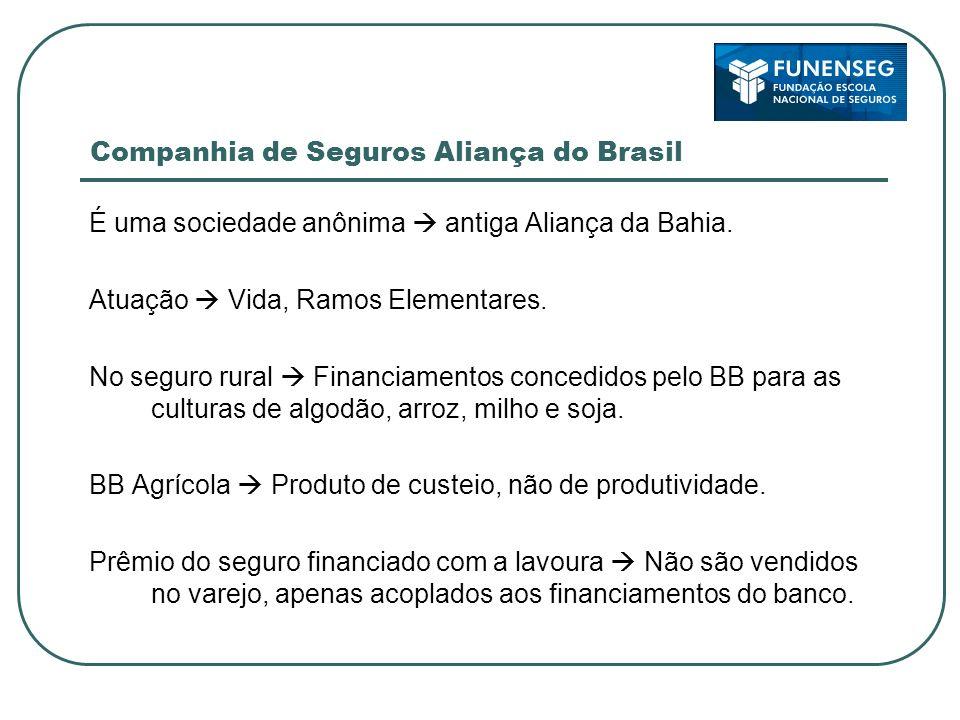 Companhia de Seguros Aliança do Brasil É uma sociedade anônima antiga Aliança da Bahia. Atuação Vida, Ramos Elementares. No seguro rural Financiamento