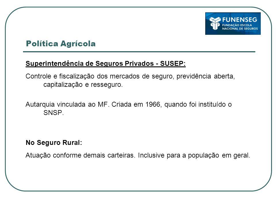 Política Agrícola Superintendência de Seguros Privados - SUSEP: Controle e fiscalização dos mercados de seguro, previdência aberta, capitalização e re