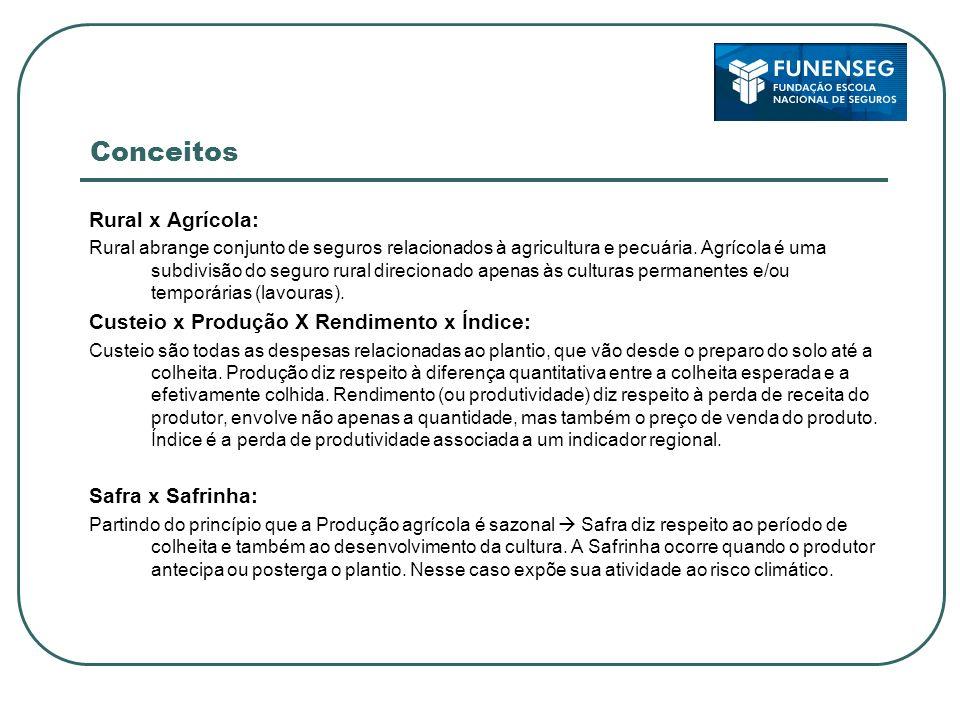 Conceitos Rural x Agrícola: Rural abrange conjunto de seguros relacionados à agricultura e pecuária. Agrícola é uma subdivisão do seguro rural direcio