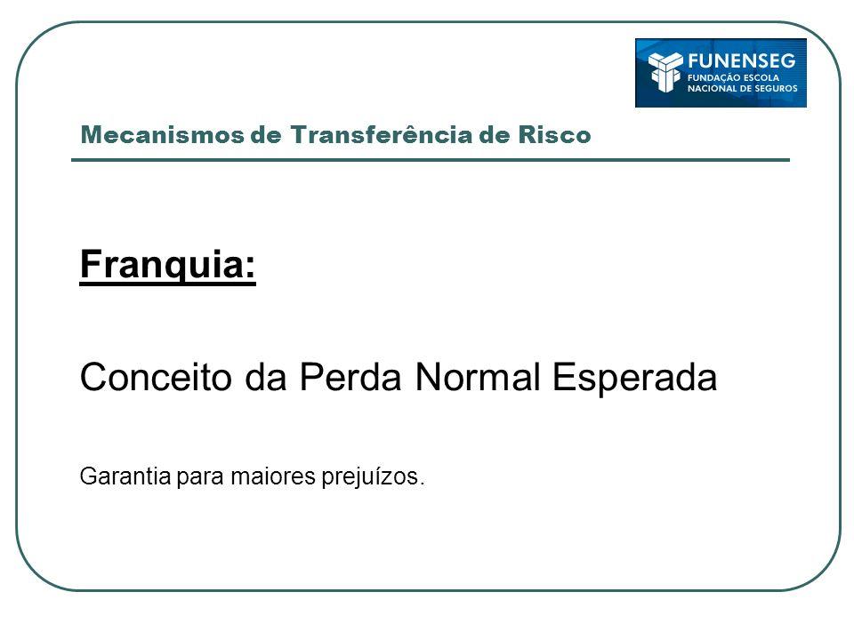 Mecanismos de Transferência de Risco Franquia: Conceito da Perda Normal Esperada Garantia para maiores prejuízos.
