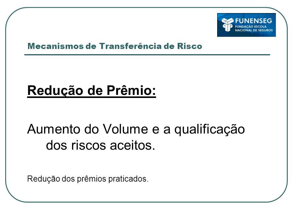 Mecanismos de Transferência de Risco Redução de Prêmio: Aumento do Volume e a qualificação dos riscos aceitos. Redução dos prêmios praticados.