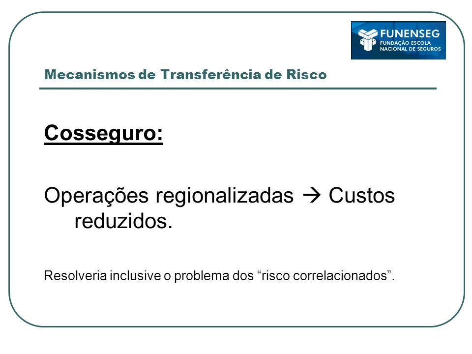 Mecanismos de Transferência de Risco Cosseguro: Operações regionalizadas Custos reduzidos. Resolveria inclusive o problema dos risco correlacionados.