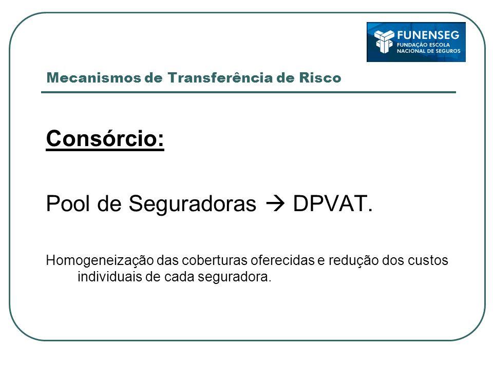 Mecanismos de Transferência de Risco Consórcio: Pool de Seguradoras DPVAT. Homogeneização das coberturas oferecidas e redução dos custos individuais d