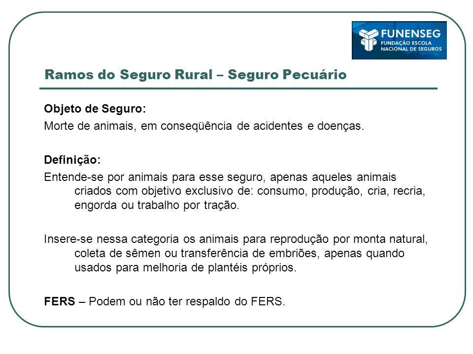 Ramos do Seguro Rural – Seguro Pecuário Objeto de Seguro: Morte de animais, em conseqüência de acidentes e doenças. Definição: Entende-se por animais