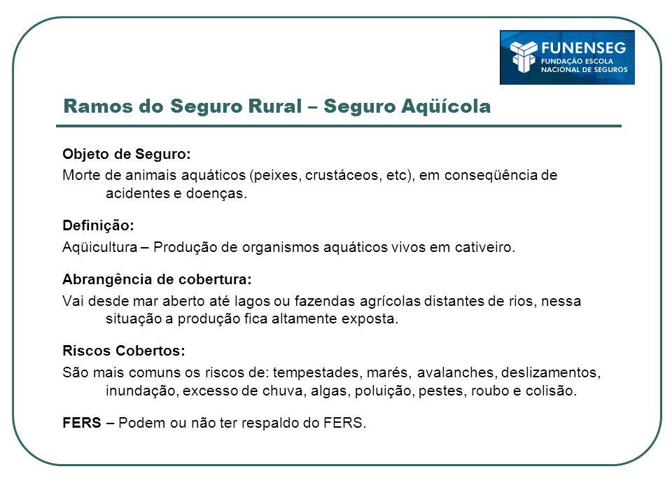 Ramos do Seguro Rural – Seguro Aqüícola Objeto de Seguro: Morte de animais aquáticos (peixes, crustáceos, etc), em conseqüência de acidentes e doenças