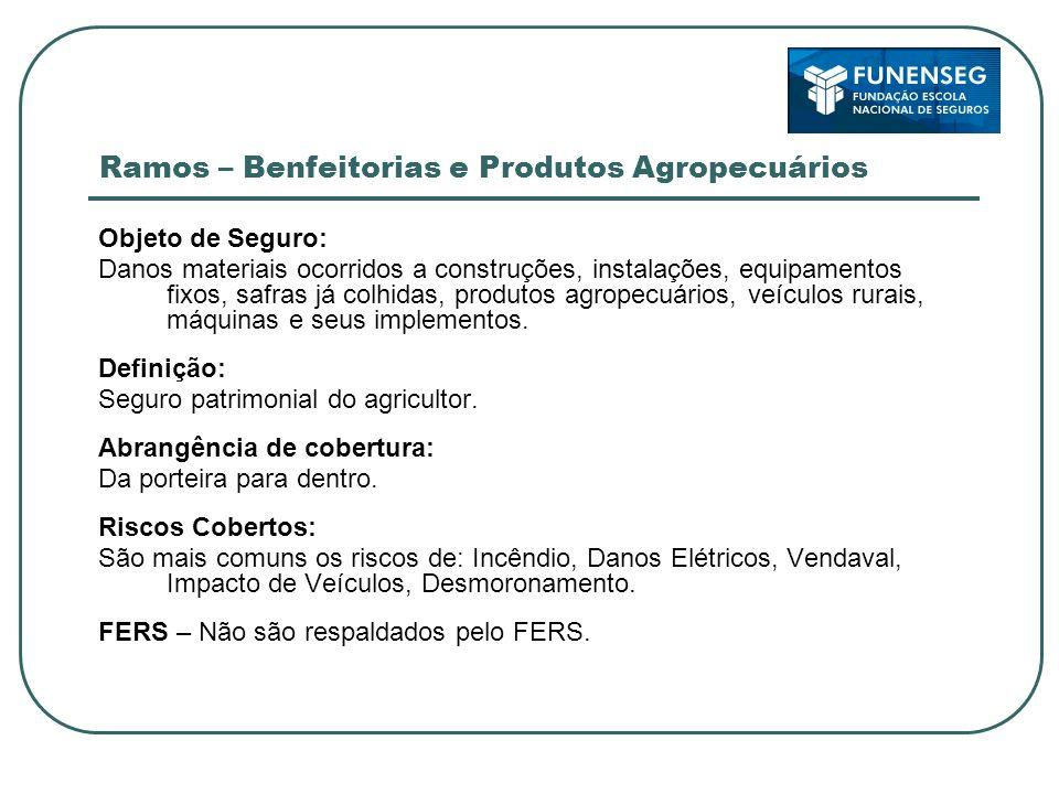 Ramos – Benfeitorias e Produtos Agropecuários Objeto de Seguro: Danos materiais ocorridos a construções, instalações, equipamentos fixos, safras já co