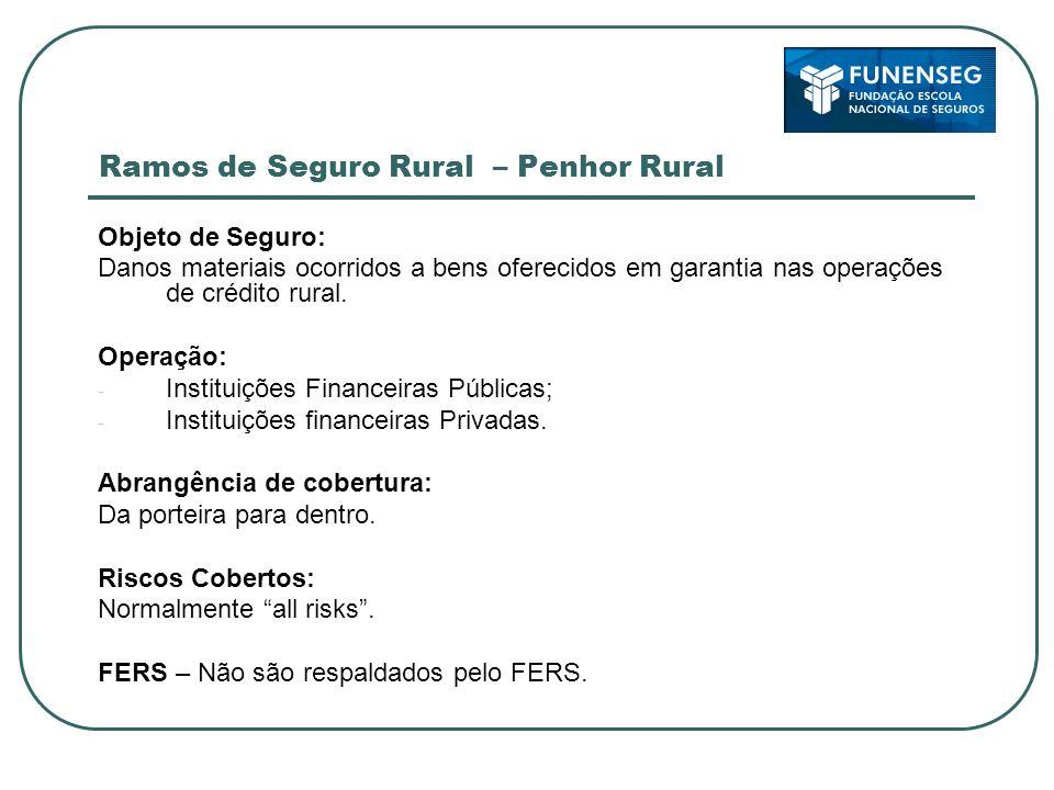 Ramos de Seguro Rural – Penhor Rural Objeto de Seguro: Danos materiais ocorridos a bens oferecidos em garantia nas operações de crédito rural. Operaçã