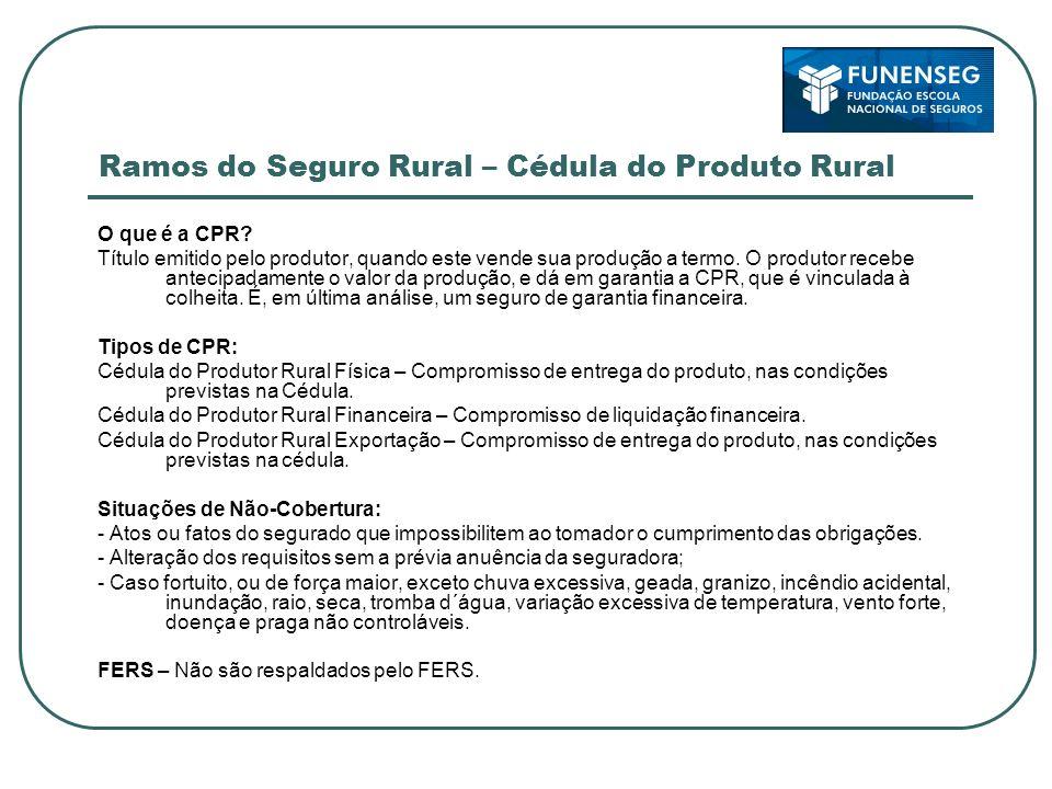 Ramos do Seguro Rural – Cédula do Produto Rural O que é a CPR? Título emitido pelo produtor, quando este vende sua produção a termo. O produtor recebe