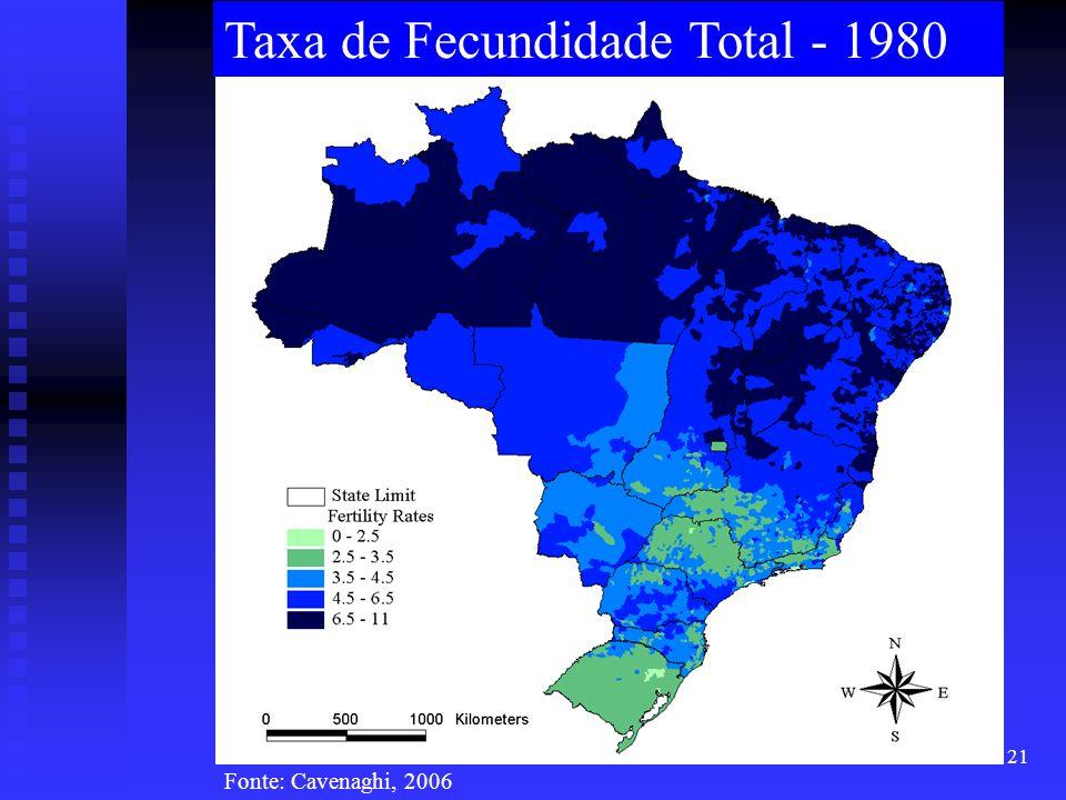 21 Taxa de Fecundidade Total - 1980 Fonte: Cavenaghi, 2006