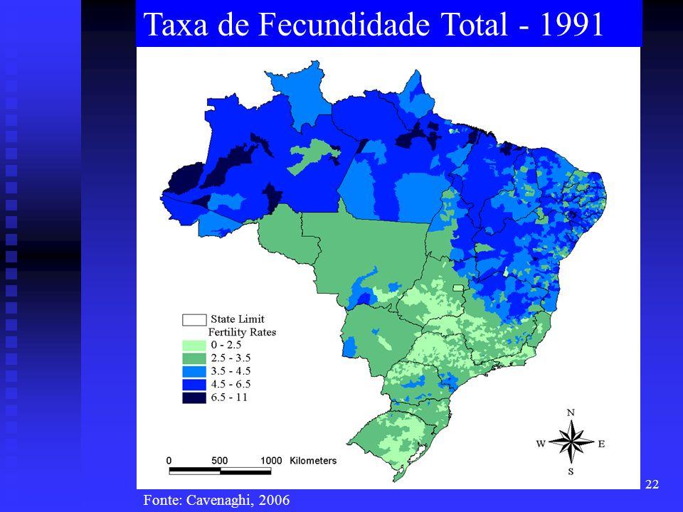 22 Taxa de Fecundidade Total - 1991 Fonte: Cavenaghi, 2006