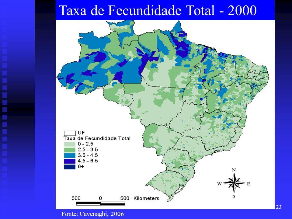 23 Taxa de Fecundidade Total - 2000 Fonte: Cavenaghi, 2006