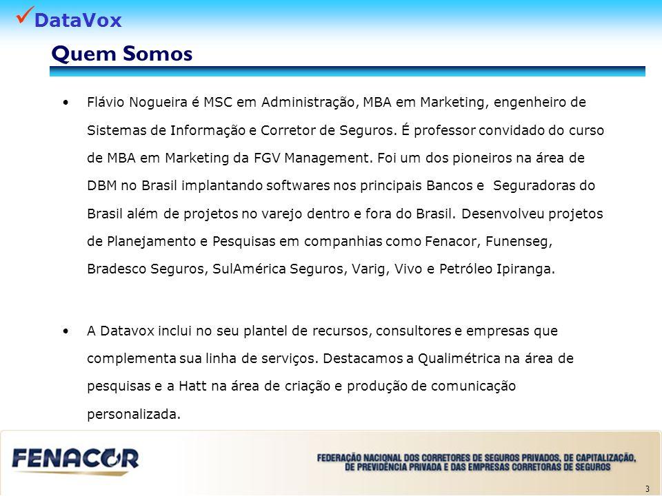 DataVox 3 Quem Somos Flávio Nogueira é MSC em Administração, MBA em Marketing, engenheiro de Sistemas de Informação e Corretor de Seguros. É professor
