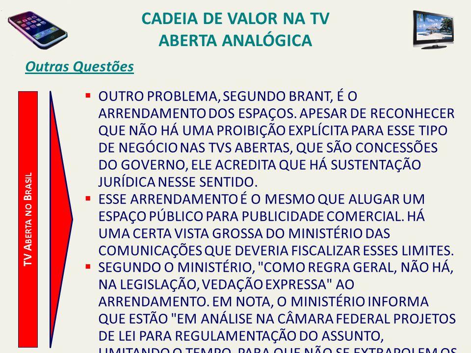 TV A BERTA NO B RASIL Outras Questões OUTRO PROBLEMA, SEGUNDO BRANT, É O ARRENDAMENTO DOS ESPAÇOS. APESAR DE RECONHECER QUE NÃO HÁ UMA PROIBIÇÃO EXPLÍ