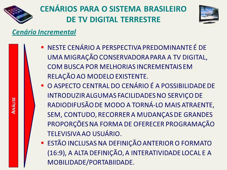 CENÁRIOS PARA O SISTEMA BRASILEIRO DE TV DIGITAL TERRESTRE A NÁLISE Cenário Incremental NESTE CENÁRIO A PERSPECTIVA PREDOMINANTE É DE UMA MIGRAÇÃO CON