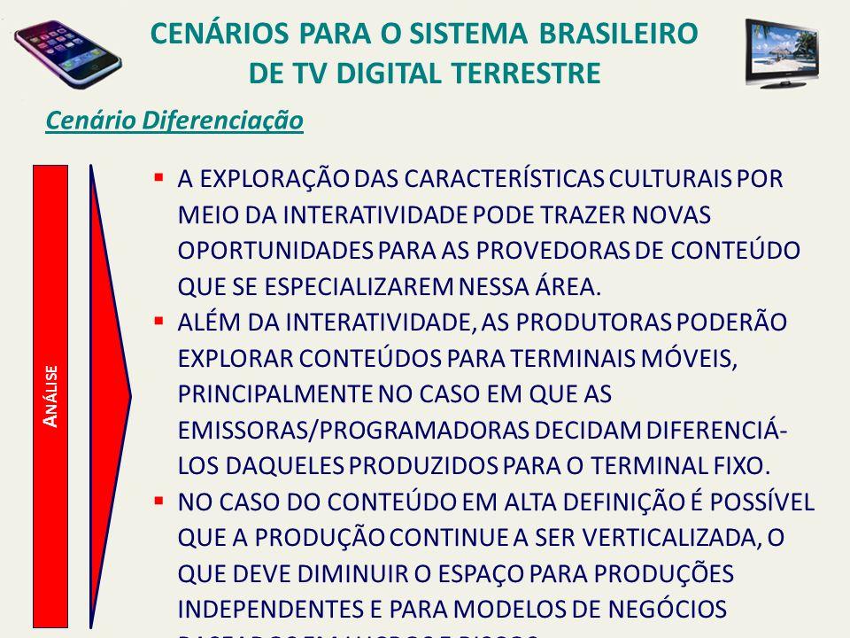 CENÁRIOS PARA O SISTEMA BRASILEIRO DE TV DIGITAL TERRESTRE A NÁLISE Cenário Diferenciação A EXPLORAÇÃO DAS CARACTERÍSTICAS CULTURAIS POR MEIO DA INTER