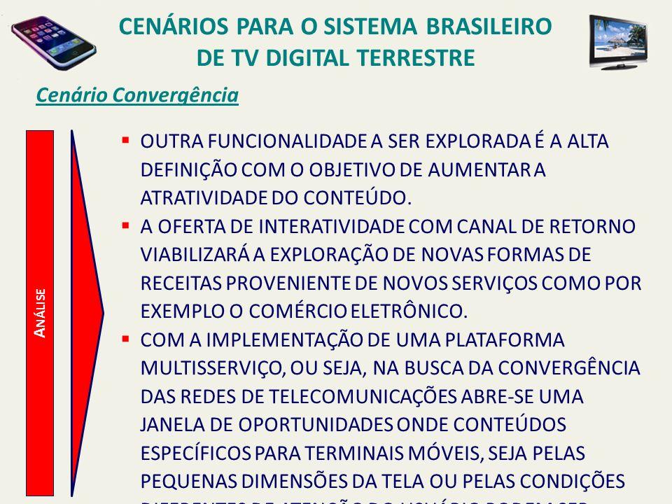 CENÁRIOS PARA O SISTEMA BRASILEIRO DE TV DIGITAL TERRESTRE A NÁLISE Cenário Convergência OUTRA FUNCIONALIDADE A SER EXPLORADA É A ALTA DEFINIÇÃO COM O