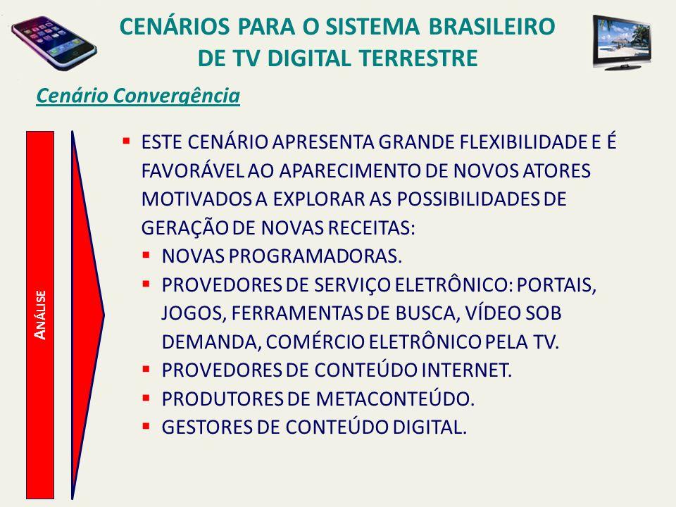 CENÁRIOS PARA O SISTEMA BRASILEIRO DE TV DIGITAL TERRESTRE A NÁLISE Cenário Convergência ESTE CENÁRIO APRESENTA GRANDE FLEXIBILIDADE E É FAVORÁVEL AO