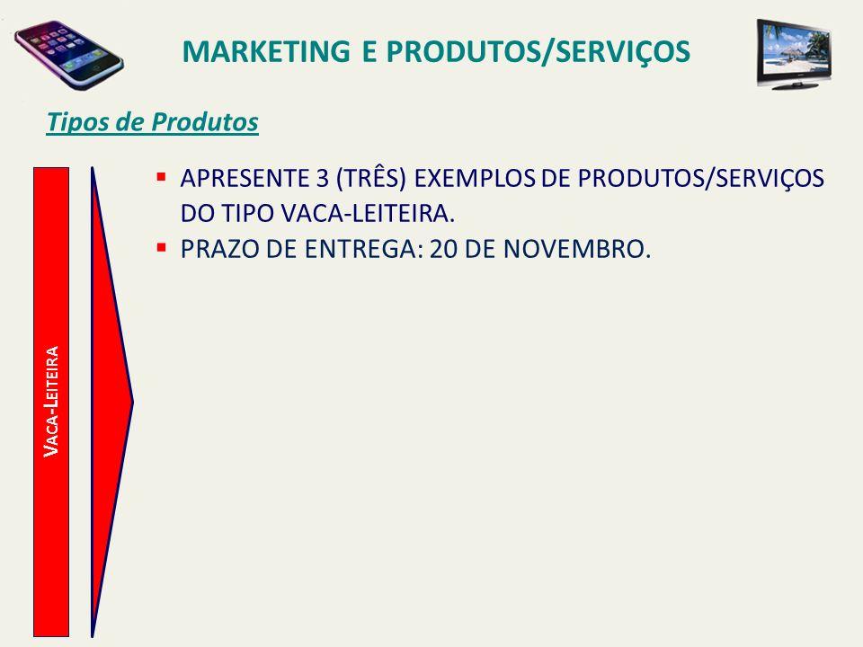 V ACA -L EITEIRA Tipos de Produtos APRESENTE 3 (TRÊS) EXEMPLOS DE PRODUTOS/SERVIÇOS DO TIPO VACA-LEITEIRA. PRAZO DE ENTREGA: 20 DE NOVEMBRO. MARKETING