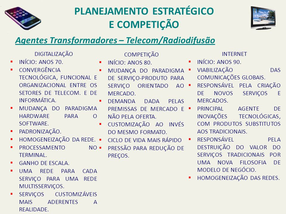 Agentes Transformadores – Telecom/Radiodifusão DIGITALIZAÇÃO INÍCIO: ANOS 70. CONVERGÊNCIA TECNOLÓGICA, FUNCIONAL E ORGANIZACIONAL ENTRE OS SETORES DE