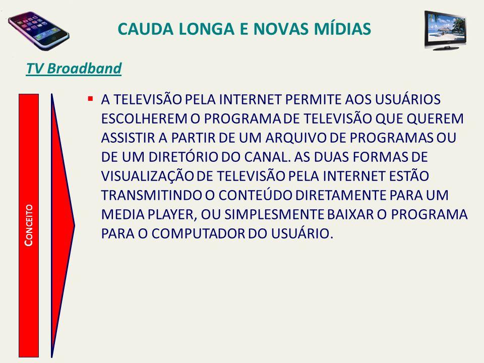 TV Broadband C ONCEITO CAUDA LONGA E NOVAS MÍDIAS A TELEVISÃO PELA INTERNET PERMITE AOS USUÁRIOS ESCOLHEREM O PROGRAMA DE TELEVISÃO QUE QUEREM ASSISTI