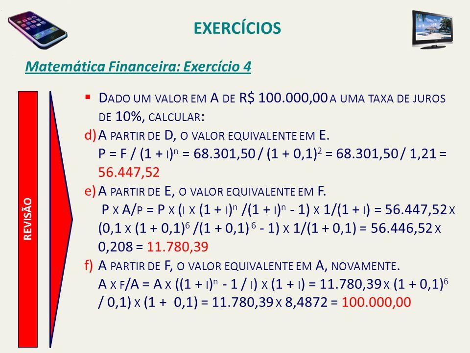EXERCÍCIOS Matemática Financeira: Exercício 4 REVISÃO D ADO UM VALOR EM A DE R$ 100.000,00 A UMA TAXA DE JUROS DE 10%, CALCULAR : d)A PARTIR DE D, O V