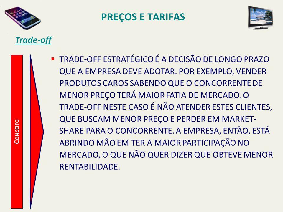 PREÇOS E TARIFAS Trade-off C ONCEITO TRADE-OFF ESTRATÉGICO É A DECISÃO DE LONGO PRAZO QUE A EMPRESA DEVE ADOTAR. POR EXEMPLO, VENDER PRODUTOS CAROS SA