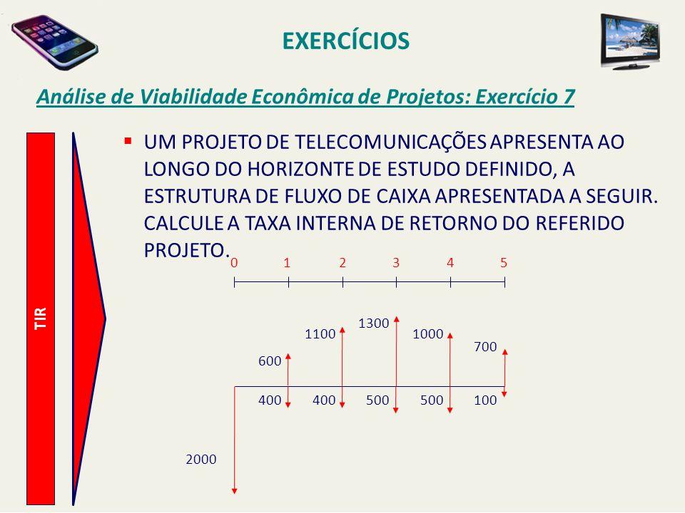 EXERCÍCIOS Análise de Viabilidade Econômica de Projetos: Exercício 7 TIR UM PROJETO DE TELECOMUNICAÇÕES APRESENTA AO LONGO DO HORIZONTE DE ESTUDO DEFI