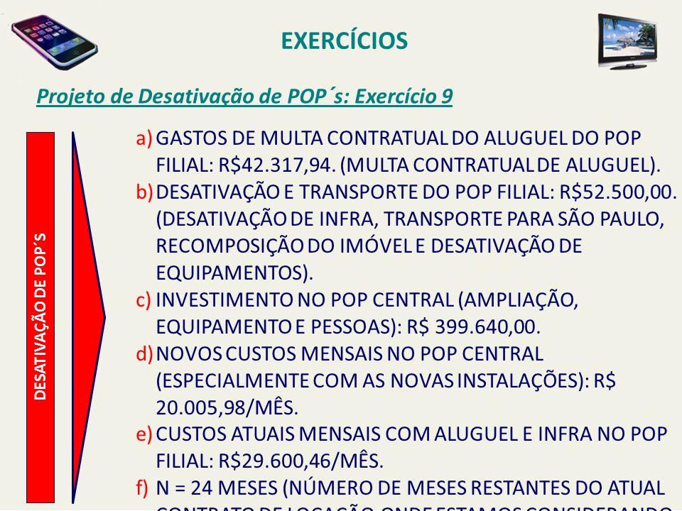 EXERCÍCIOS Projeto de Desativação de POP´s: Exercício 9 DESATIVAÇÃO DE POP´S a)GASTOS DE MULTA CONTRATUAL DO ALUGUEL DO POP FILIAL: R$42.317,94. (MULT