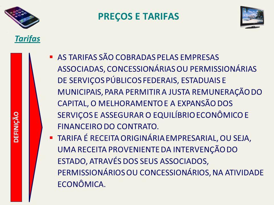 PREÇOS E TARIFAS Tarifas DEFINIÇÃO AS TARIFAS SÃO COBRADAS PELAS EMPRESAS ASSOCIADAS, CONCESSIONÁRIAS OU PERMISSIONÁRIAS DE SERVIÇOS PÚBLICOS FEDERAIS