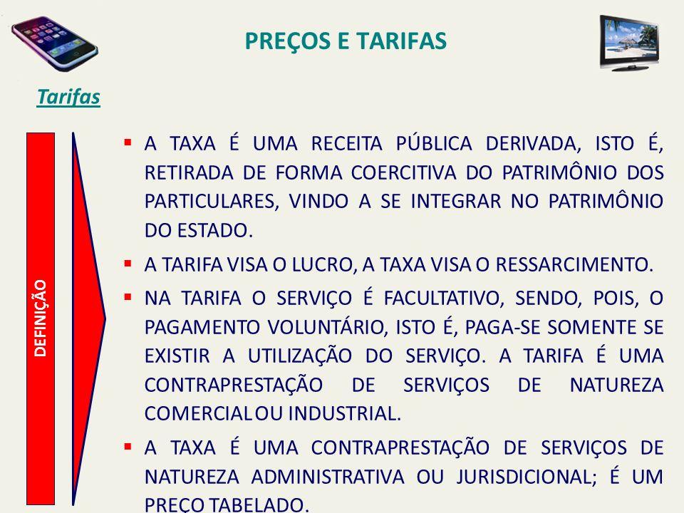 PREÇOS E TARIFAS Tarifas DEFINIÇÃO A TAXA É UMA RECEITA PÚBLICA DERIVADA, ISTO É, RETIRADA DE FORMA COERCITIVA DO PATRIMÔNIO DOS PARTICULARES, VINDO A
