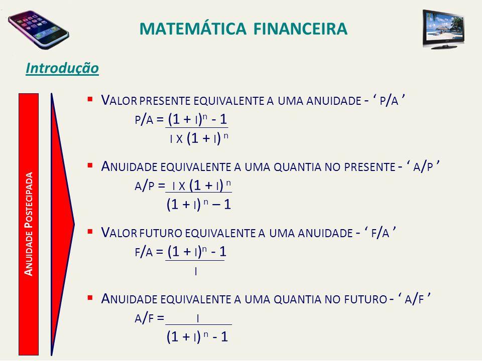 MATEMÁTICA FINANCEIRA Introdução A NUIDADE P OSTECIPADA V ALOR PRESENTE EQUIVALENTE A UMA ANUIDADE - P / A P / A = (1 + I ) n - 1 I X (1 + I ) n A NUI