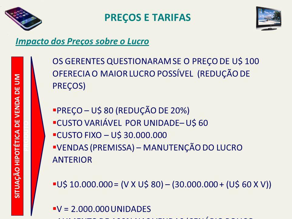 PREÇOS E TARIFAS Impacto dos Preços sobre o Lucro SITUAÇÃO HIPOTÉTICA DE VENDA DE UM PRODUTO OS GERENTES QUESTIONARAM SE O PREÇO DE U$ 100 OFERECIA O MAIOR LUCRO POSSÍVEL (AUMENTO DE PREÇOS) PREÇO – U$ 120 (AUMENTO DE 20%) CUSTO VARIÁVEL POR UNIDADE– U$ 60 CUSTO FIXO – U$ 30.000.000 (CONSEGUE MANTER) VENDAS (PREMISSA) – MANUTENÇÃO DO LUCRO ANTERIOR U$ 10.000.000 = (V X U$ 120) – (30.000.000 + (U$ 60 X V)) V = 667.000 UNIDADES REDUÇÃO DE 33,3% NAS VENDAS