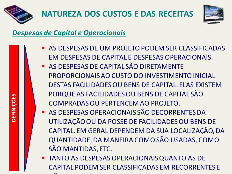 Despesas de Capital e Operacionais DEFINIÇÕES AS DESPESAS DE UM PROJETO PODEM SER CLASSIFICADAS EM DESPESAS DE CAPITAL E DESPESAS OPERACIONAIS. AS DES