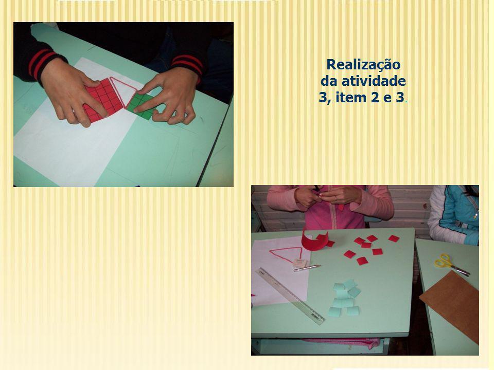 Realização da atividade 3, item 2 e 3.