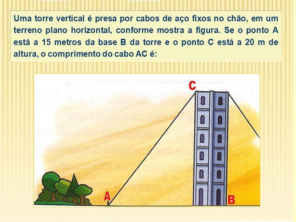 Uma torre vertical é presa por cabos de aço fixos no chão, em um terreno plano horizontal, conforme mostra a figura.