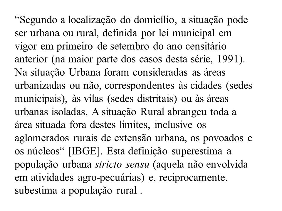 Segundo a localização do domicílio, a situação pode ser urbana ou rural, definida por lei municipal em vigor em primeiro de setembro do ano censitário