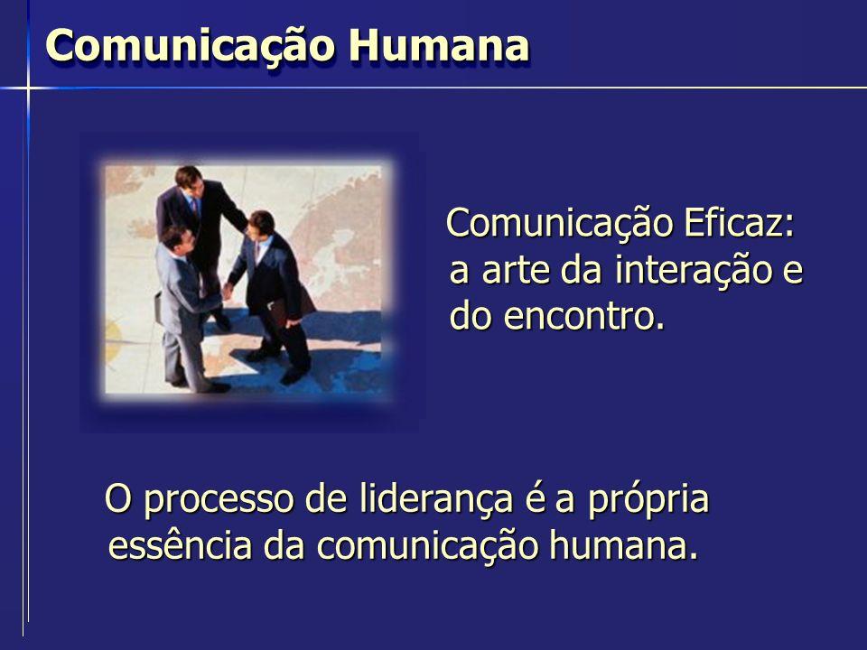 O processo de liderança é a própria essência da comunicação humana. Comunicação Humana Comunicação Eficaz: a arte da interação e do encontro.