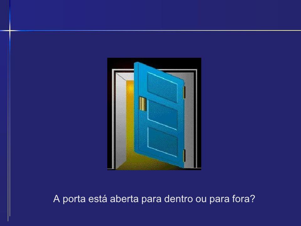 A porta está aberta para dentro ou para fora?