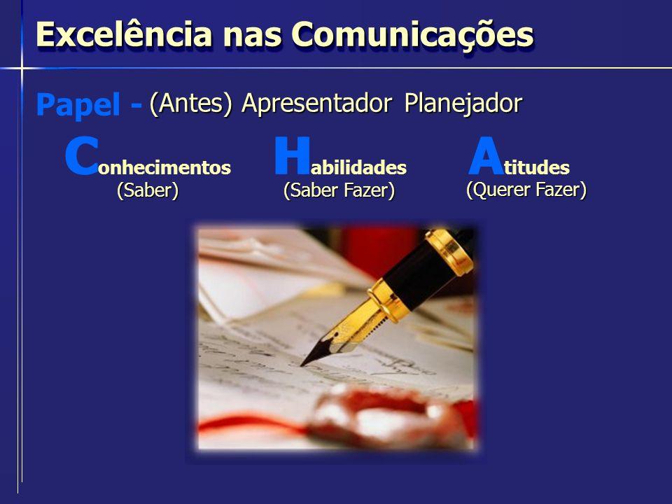 Excelência nas Comunicações (Antes) Apresentador Planejador Papel - HCAC onhecimentos(Saber) H abilidades (Saber Fazer) A titudes (Querer Fazer)