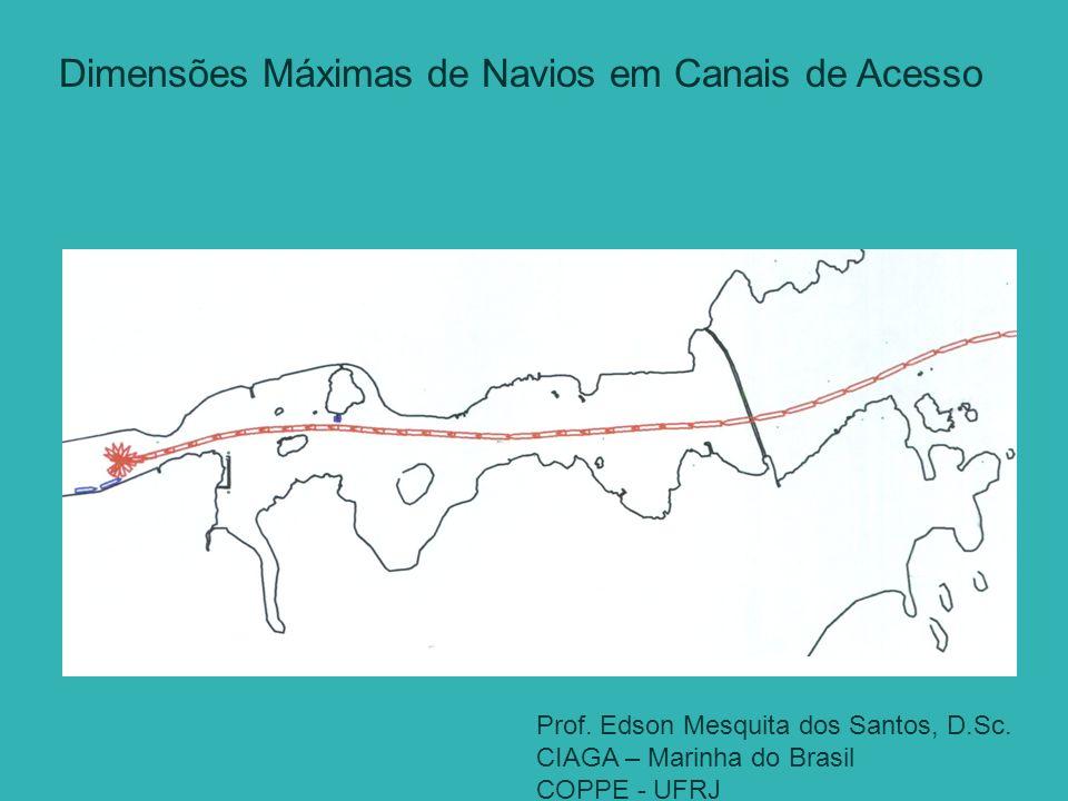 Prof. Edson Mesquita dos Santos, D.Sc. CIAGA – Marinha do Brasil COPPE - UFRJ. Dimensões Máximas de Navios em Canais de Acesso