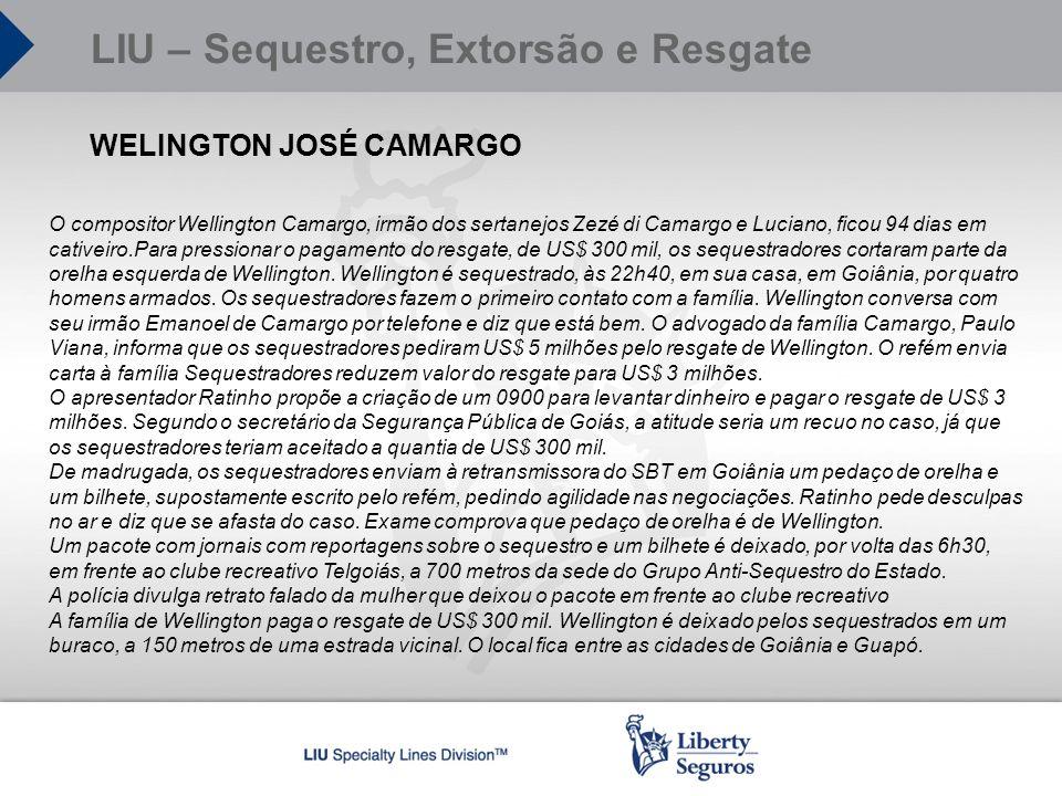 WELINGTON JOSÉ CAMARGO O compositor Wellington Camargo, irmão dos sertanejos Zezé di Camargo e Luciano, ficou 94 dias em cativeiro.Para pressionar o p