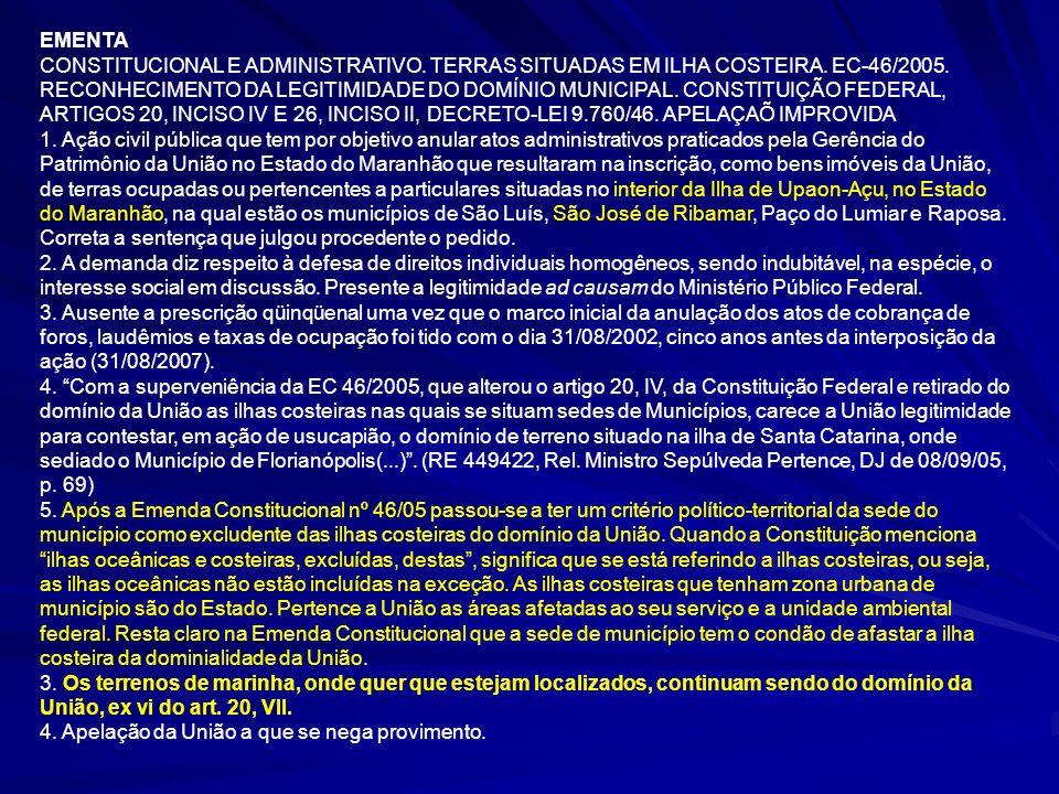 20 Decreto-lei nº 9.760, de 05 de setembro de 1946, artigos 1º e 2º do, enuncia e define os bens imóveis da União.