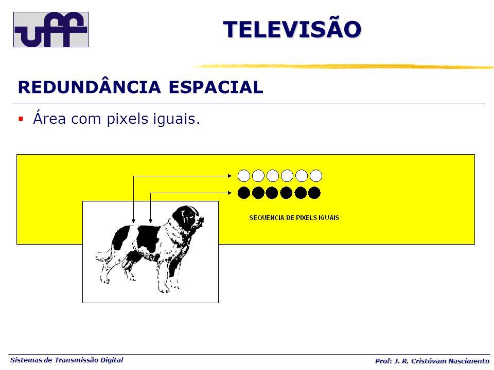 Sistemas de Transmissão Digital Prof: J. R. Cristóvam Nascimento REDUNDÂNCIA ESPACIAL Área com pixels iguais. TELEVISÃO
